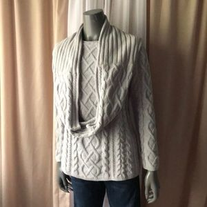 J Jill Gray Cabled Chenille Sweater & Scarf Set XS